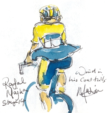 Cycling art, Tour de France, watercolour pen and ink painting, Wind in his coat tails, Rafal Majka by Maxine Dodd