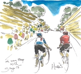 Cycling art, Tour de France, watercolour pen and ink painting by Maxine Dodd SOLD - A very steep hill, by Maixne Dodd, SOLD
