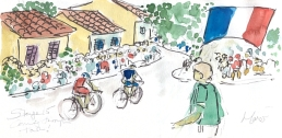 Cycling art, Tour de France, watercolour pen and ink painting, Coming through town by Maxine Dodd