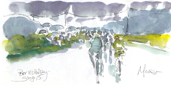Cycling art, Tour de France, watercolour pen and ink painting, Poor visibility, by Maxine Dodd