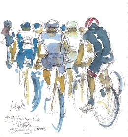 Cycling art, Tour de France, watercolour pen and ink painting, SOLD - Peloton, steady climb