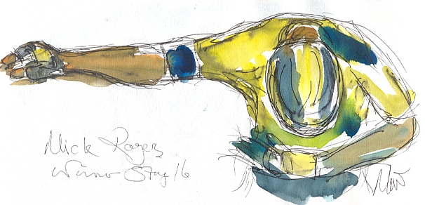 Cycling art, Tour de France, watercolour pen and ink painting SOLD - Mick Rogers, winner Stage 16, by Maxine Dod, SOLD