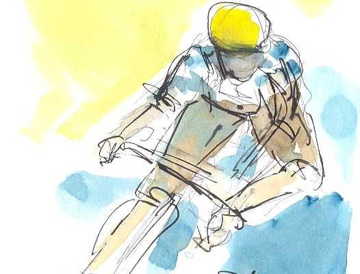 Cycling art, Tour de France, watercolour pen and ink painting, Bardet goes for it, by Maxine Dodd