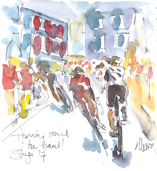 Cycling art, Tour de France, watercolour pen and ink painting. SOLD - Haring round the bend! by Maxine Dodd