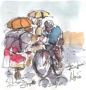 TJ Slagter et les parapluies