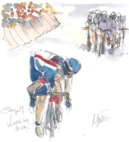 Cycling art, Tour de France, watercolour pen and ink painting, SOLD - Where are they? by Maxine Dodd, SOLD