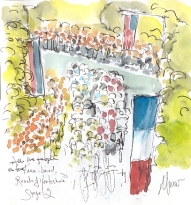 Cycling art, Tour de France, watercolour pen and ink painting, All the people of Yorkshire by Maxine Dodd
