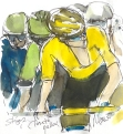 Cycling art, Tour de France, watercolour pen and ink painting, Close to Yellow by Maxine Dodd