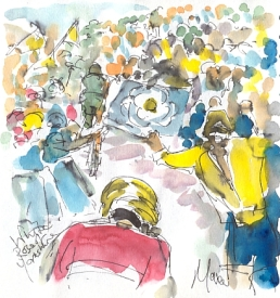 Cycling art, Tour de France, watercolour pen and ink painting, White Rose of Yorkshire by Maxine Dodd