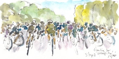 Cycling art, Tour de France, watercolour pen and ink painting, SOLD - Heading for Holmfirth, by Maxine Dodd, SOLD