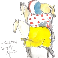 Cycling art, Tour de France, watercolour pen and ink painting, Tour de Horse, by Maxine Dodd