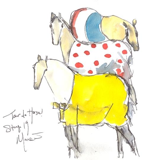 Cycling art, Tour de France, watercolour pen and ink painting, Tour de Horse, by Maxine Dodd