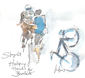 Cycling art, Tour de France, watercolour pen and ink painting, Helping hands for Bardet by Maxine Dodd