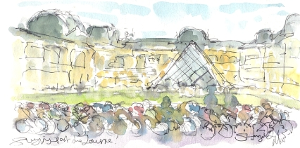 Cycling art, Tour de France, watercolour pen and ink painting, Flying past the Louvre, by Maxine Dodd