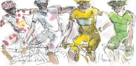 Cycling art, Tour de France, watercolour pen and ink painting, SOLD - Maxine Dodd, 4 Champions, 2014, SOLD Majka, Pinot, Nibali, Sagan