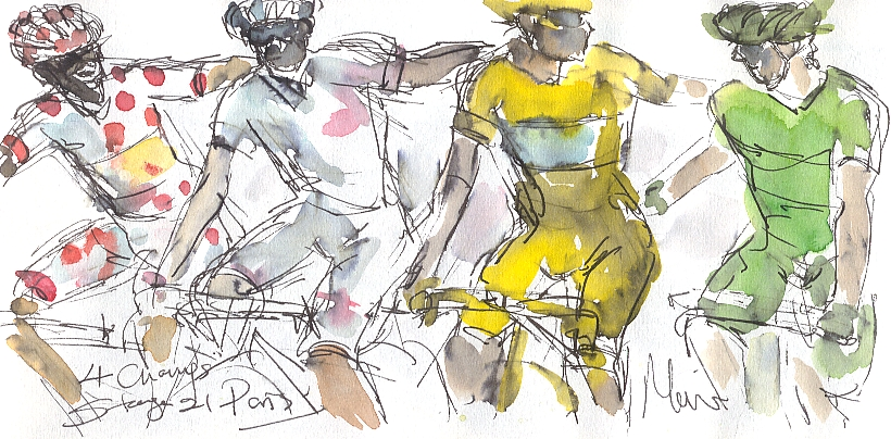 Cycling art, Tour de France, watercolour pen and ink painting, SOLD - Maxine Dodd, 4 Champions, 2014, SOLD Majka, Pinot, Nibali, Sagan
