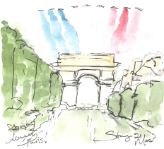 Cycling art, Tour de France, watercolour pen and ink painting, Flying over lovely Paris! by Maxine Dodd