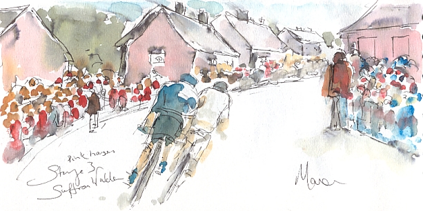 Cycling art, Tour de France, watercolour pen and ink painting - SOLD - Pink Houses, Saffron Walden, by Maxine Dodd, SOLD