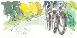 Cycling art, Tour de France, watercolour pen and ink painting, Wheel's eye view by Maxine Dodd