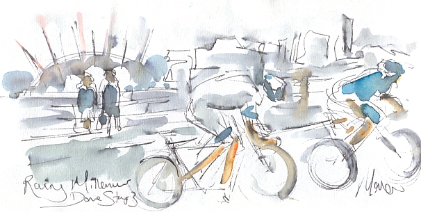 Cycling art, Tour de France, watercolour pen and ink painting, Riding by the Millennium Dome by Maxine Dodd