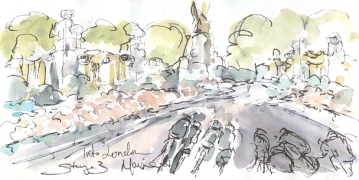 Cycling art, Tour de France, watercolour pen and ink painting, Into London by Maxine Dodd