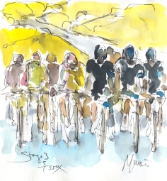 Cycling art, Tour de France, watercolour pen and ink painting, Stage 3, Essex by Maxine Dodd