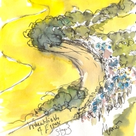 Cycling art, Tour de France, watercolour pen and ink painting, The wheatfields of Essex by Maxine Dodd