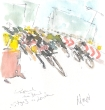 Cycling art, Tour de France, watercolour pen and ink painting, Round the bend, London by Maxine Dodd