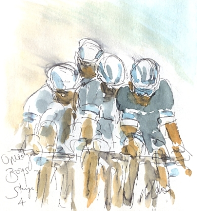 Cycling art, Tour de France, watercolour pen and ink painting, Omega boys by Maxine Dodd