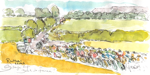 Cycling art, Tour de France, watercolour pen and ink painting, Rainbow riders - back to France by Maxine Dodd
