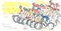 Cycling art, Tour de France, watercolour pen and ink painting, So many bikes! by Maxine Dodd