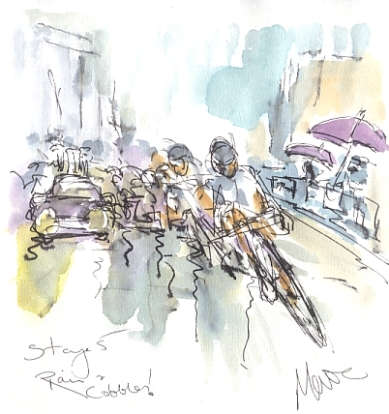 Cycling art, Tour de France, watercolour pen and ink painting, Rain and cobbles! by Maxine Dodd