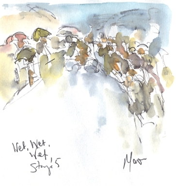Cycling art, Tour de France, watercolour pen and ink painting, Wet, wet, wet! by Maxine Dodd