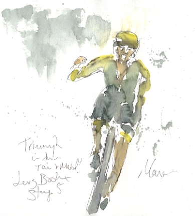Cycling art, Tour de France, watercolour pen and ink painting, Triumph in the rain and mud, Lars Boom by Maxine Dodd