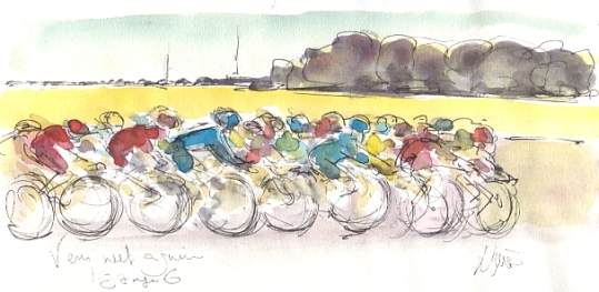 Cycling art, Tour de France, watercolour pen and ink painting, Very wet again! by Maxine Dodd