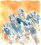 Cycling art, Tour de France, watercolour pen and ink painting, Pushing forward by Maxine Dodd