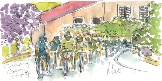 Cycling art, Tour de france, Cascading green, Maxine Dodd, watercolour, pen and ink