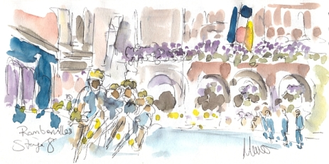 Cycling art, Tour de France, watercolour pen and ink painting, Ramberville by Maxine Dodd