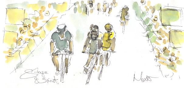 Cycling art, Tour de France, watercolour pen and ink painting, Stage 8 sprint by Maxine Dodd