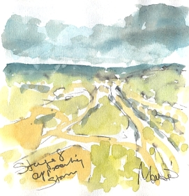 Cycling art, Tour de France, watercolour pen and ink painting, Approaching storm by Maxine Dodd