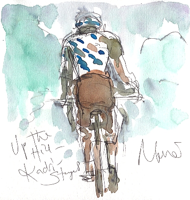 Cycling art, Tour de France, watercolour pen and ink painting, Up the hill, Kadri!! by Maxine Dodd
