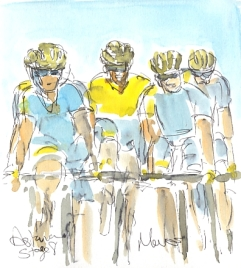 Cycling art, Tour de France, watercolour pen and ink painting, Astana boys by Maxine Dodd