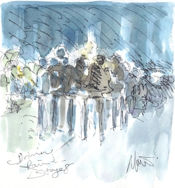 Cycling art, Tour de France, watercolour pen and ink painting, Driving rain by Maxine Dodd