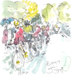 Cycling art, Tour de France, watercolour pen and ink painting, It's raining again by Maxine Dodd