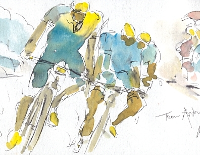Cycling art, Tour de France, watercolour pen and ink painting, Team Astana descent, by Maxine Dodd