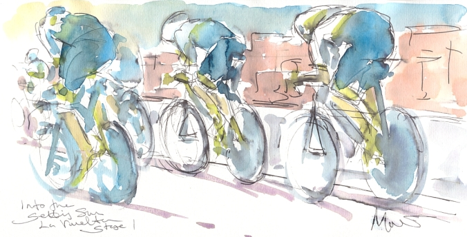 Into the setting sun, Team Orica Greenedge, by Maxine Dodd