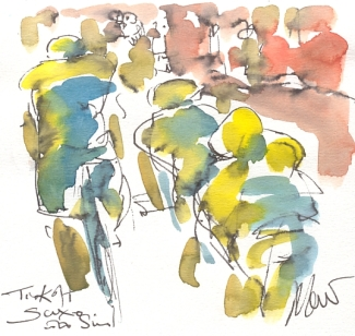 Maxine Dodd, painting Tinkoff Saxo cycling team