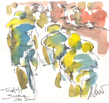 Maxine Dodd, painting Tinkoff Saxo cycling team
