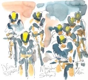 Maxine Dodd, painting of Movistar cycling team