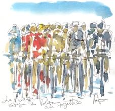 Cycling art, La Vuelta, Peloton all together, by Maxine Dodd